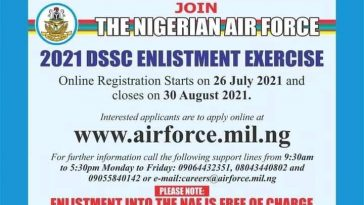 Requirements for 2021 Nigerian Airforce DSSC Recruitment Exercise (Details)