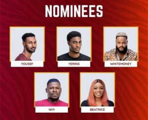 #Bbnaija: See who and who to be evicted between Beatrice, Yerins, Yousef, Niyi, and Whitemoney