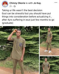 Final year student of Enugu state University (ESUT) commits suicide over carryover
